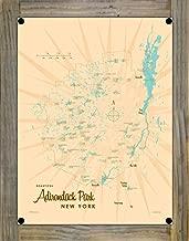 Adirondacks Vintage-Style Map Metal Print on Reclaimed Barn Wood by Lakebound (9