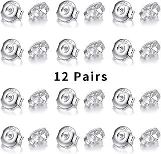 24pcs/12 Pair 18K Gold Plated Earring Backs Replacement, 925 Sterling Silver Secure Earring Backs/Secure Ear Locking for Stud Earrings Ear Nut for Posts, Hypoallergenic Safety Earring Backs 5x6mm