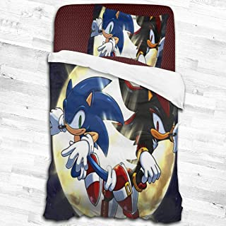 Yellowbiubiubiu Sonic The Hedgehog 2 Piece Bedding Set Ultra Soft Zipper Closure Bedding Set 3D Single Print Bedding Set Single Bed with 1 Pillow Shams Set
