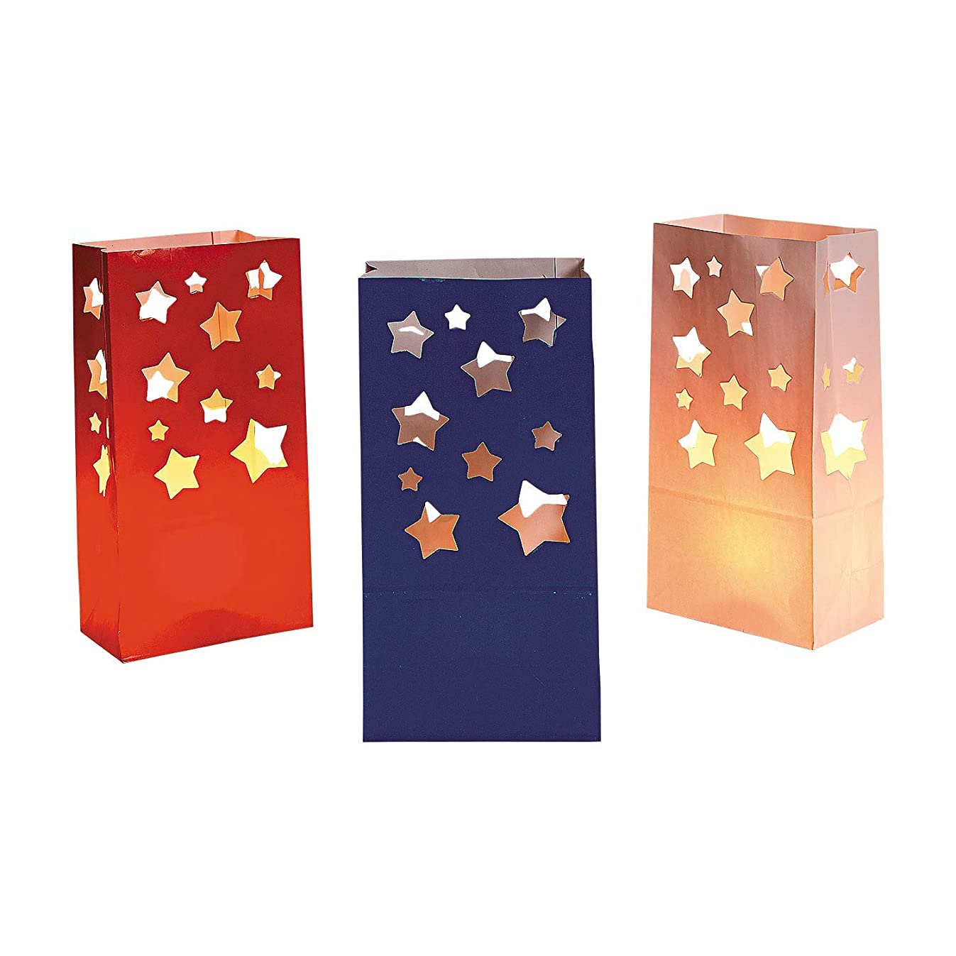 Patriotic Red White and Blue Stars Luminary Bags (36 Pack)