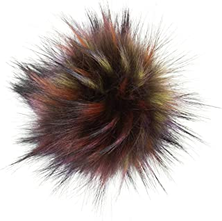 Article de Cadeau Sibylles - Pompon en Fourrure avec Bouton Pression (Fourrure d'animal) - Diamètre : 10 cm - pour des Des...