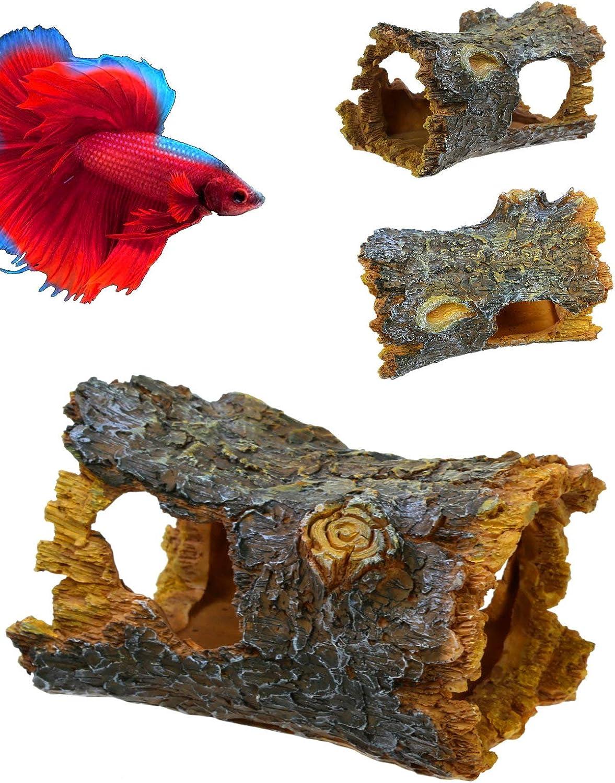 Corisrx Aquarium Hide Log Betta Fish Tank accessorie Decoration - Resin Artificial Tree Trunk Ornament for Fish Tank Betta Hideout Cave Decor - Small Tree Log with Hollow for Aquarium Accessories