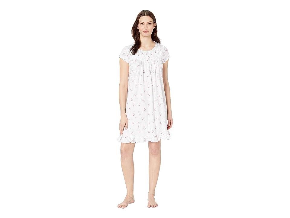 Eileen West Cotton Jersey Short Nightgown (White Ground Bouquet Toss) Women