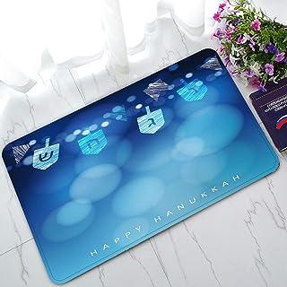 ECZJNT Hanukkah Blue with String of Light and Dreidels Welcome Doormat Bath Mat Rug Entrance Rug Floor Mats 30x18 inch