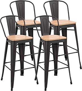HOMCOM Lot de 4 tabourets de Bar Industriel avec Dossier Repose-Pied Hauteur Assise 76 cm métal café foncé Panneaux Multic...
