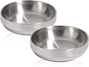 ComSaf Food Grade 304 Stainless Steel Cat Bowls, Shallow and Wide Metal Cat Food and Water Feeder Set, Durable Double Layer Pet Feeding Dishes for Kitten, Puppy, Whisker Stress Free, Dishwasher Safe