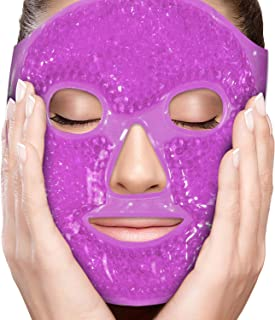PerfeCore Facial Mask - Get Rid of Puffy Eyes - Migraine Relief, Sleeping, Travel Therapeutic Hot Cold Compress Pack - Gel Beads, Spa Therapy Wrap for Sinus Pressure Face Puffiness Headaches - Gel Mask - Purple
