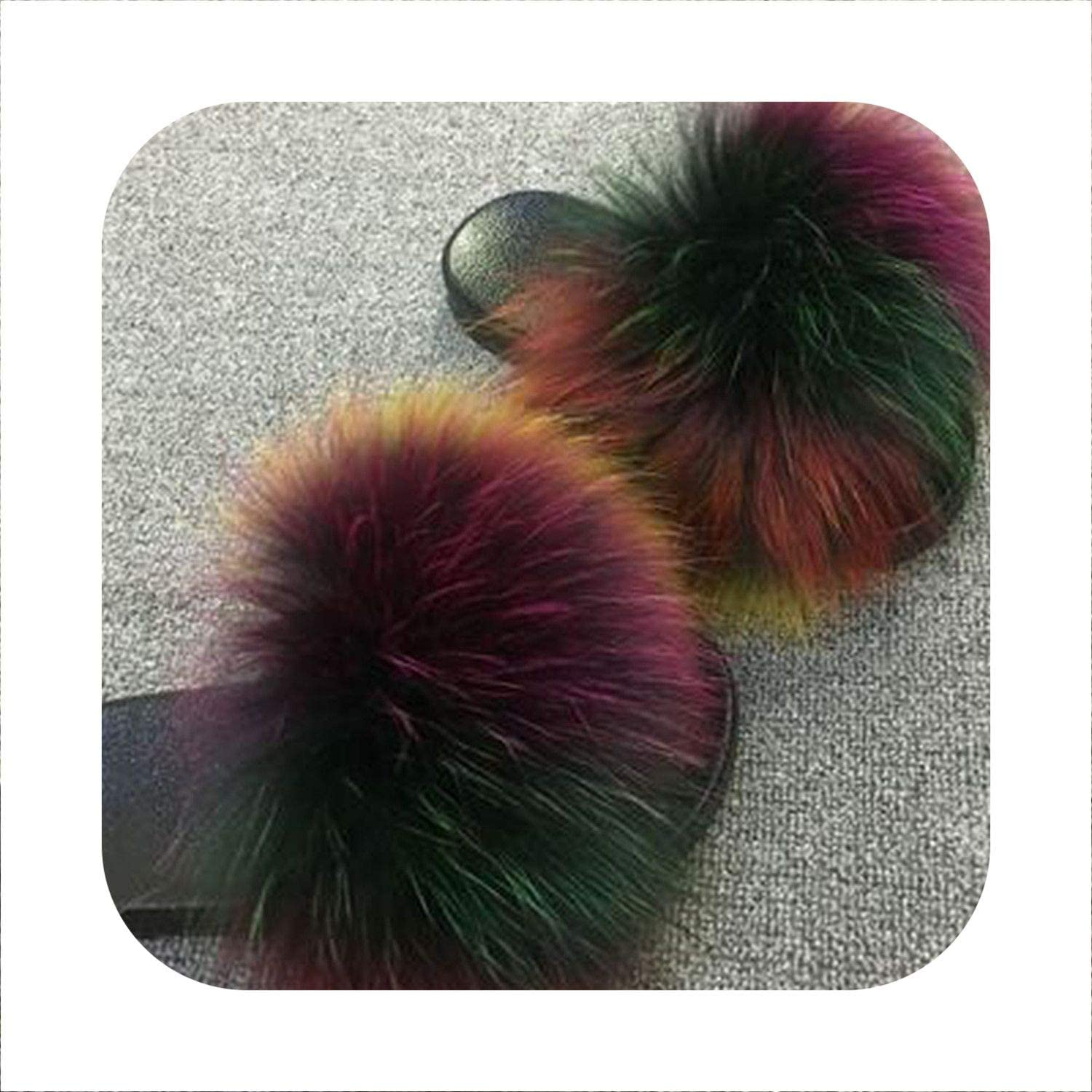 Sunjinjing New Summer Woman Mink Fur Slides Fluffy Real Hair Slippers Flat Non Slip Indoor Flip Flops women Casual Furry Beach Sandals
