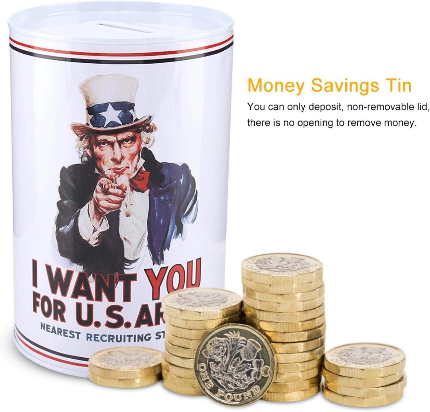 2312-03 Omabeta 1Pc Money Savings Tin Antique European-Style Tinplate Piggy Bank Creative Change Bank Decoration Piggy Bank Money Box Jar for Kids Adults