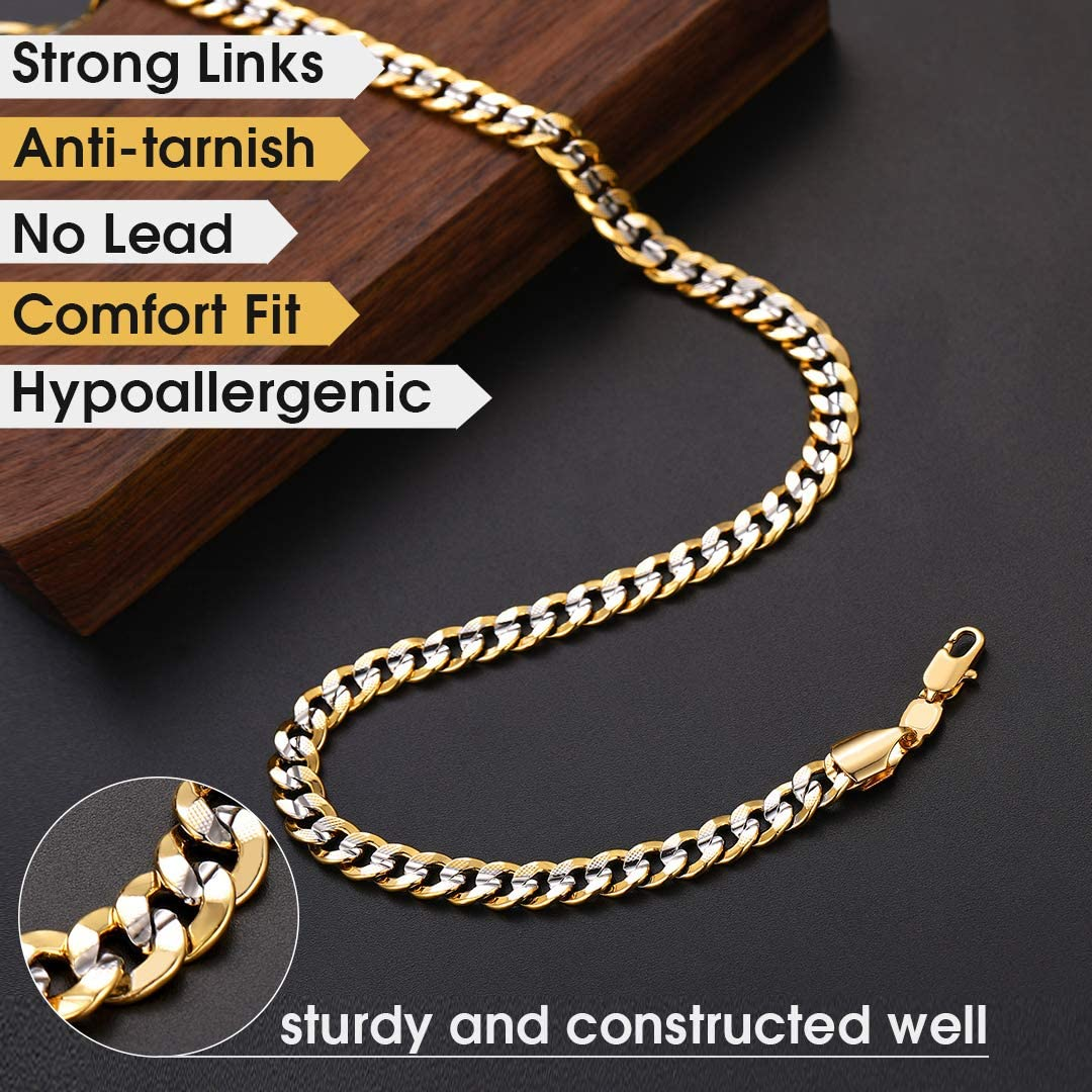 ChainsHouse Cuban Chain Necklace for Men Women Two-Tone Jewelry 6mm-10mm Wide 18K Gold Plated Curb Link Chain (18