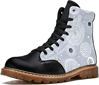 LORVIES Motif Boho Vintage Bottes d'hiver Chaussures Montantes en Toile à Lacets pour Hommes