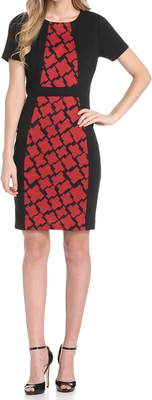 Anne Klein Women's Houndstooth Combo Ponte Sheath Dress