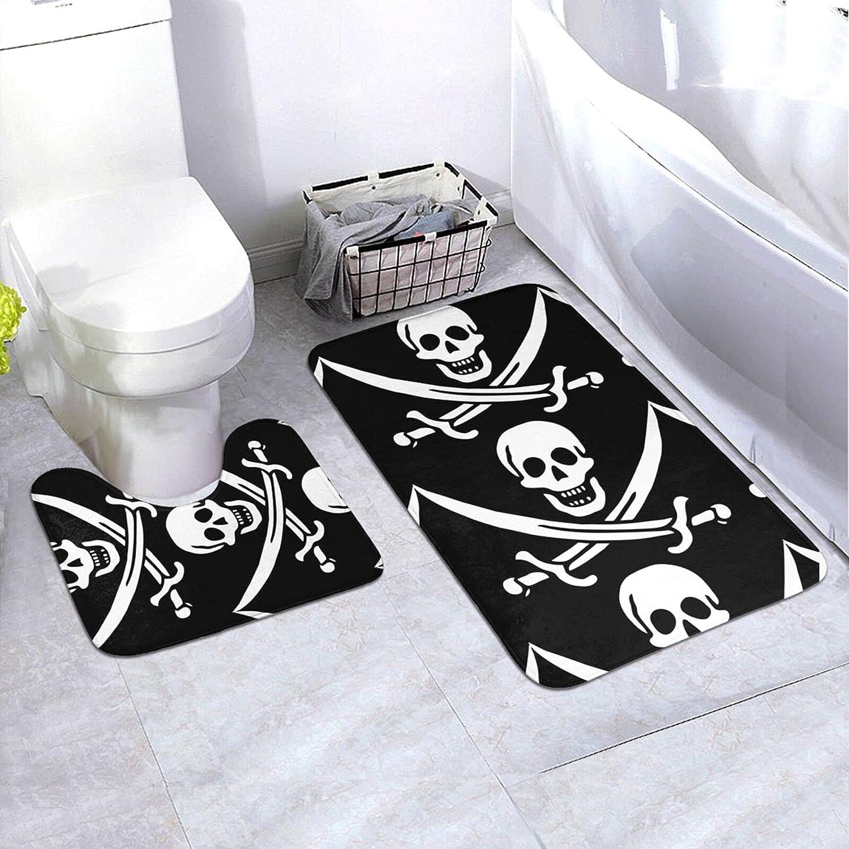1 year warranty Pirate Flags Bathroom Washable Non-Slip Superlatite Bath Carpet Mat Floor Ru