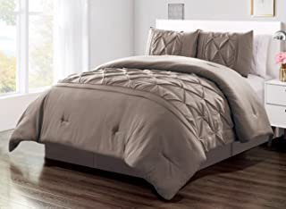 Grand Linen 3 Piece King Size Solid Taupe Double-Needle Stitch Puckered Pinch Pleat Stripe Duvet Cover Set