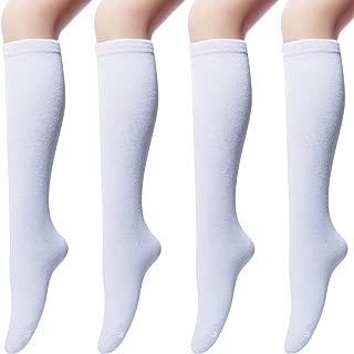 Senker 4 pairs Women's Cotton Knee High Socks, Casual Solid Knit Knee Socks