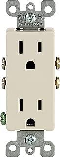Leviton 5325-TMP 15 Amp, 125 Volt, Decora Duplex Receptacle, Residential Grade, Grounding, 10 Pack, Light Almond