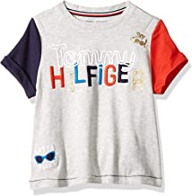 Tommy Hilfiger Girls' Adaptive Signature T Shirt with Velcro Brand Closure at Shoulder