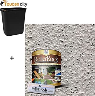 Toucan City 7 Gal Trash Can and DAICH RollerRock 1 gal. Self-Priming Warm Gray Exterior Concrete Coating RRPL-WG-378