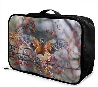 YueLJB Robin Birds Pattern Lightweight Large Capacity Portable Luggage Bag Travel Duffel Bag Storage Carry Luggage Duffle Tote Bag