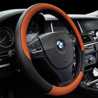 Auto Car Steering Wheel Cover Anti-slip Microfiber Leather with Viscose Universal 15