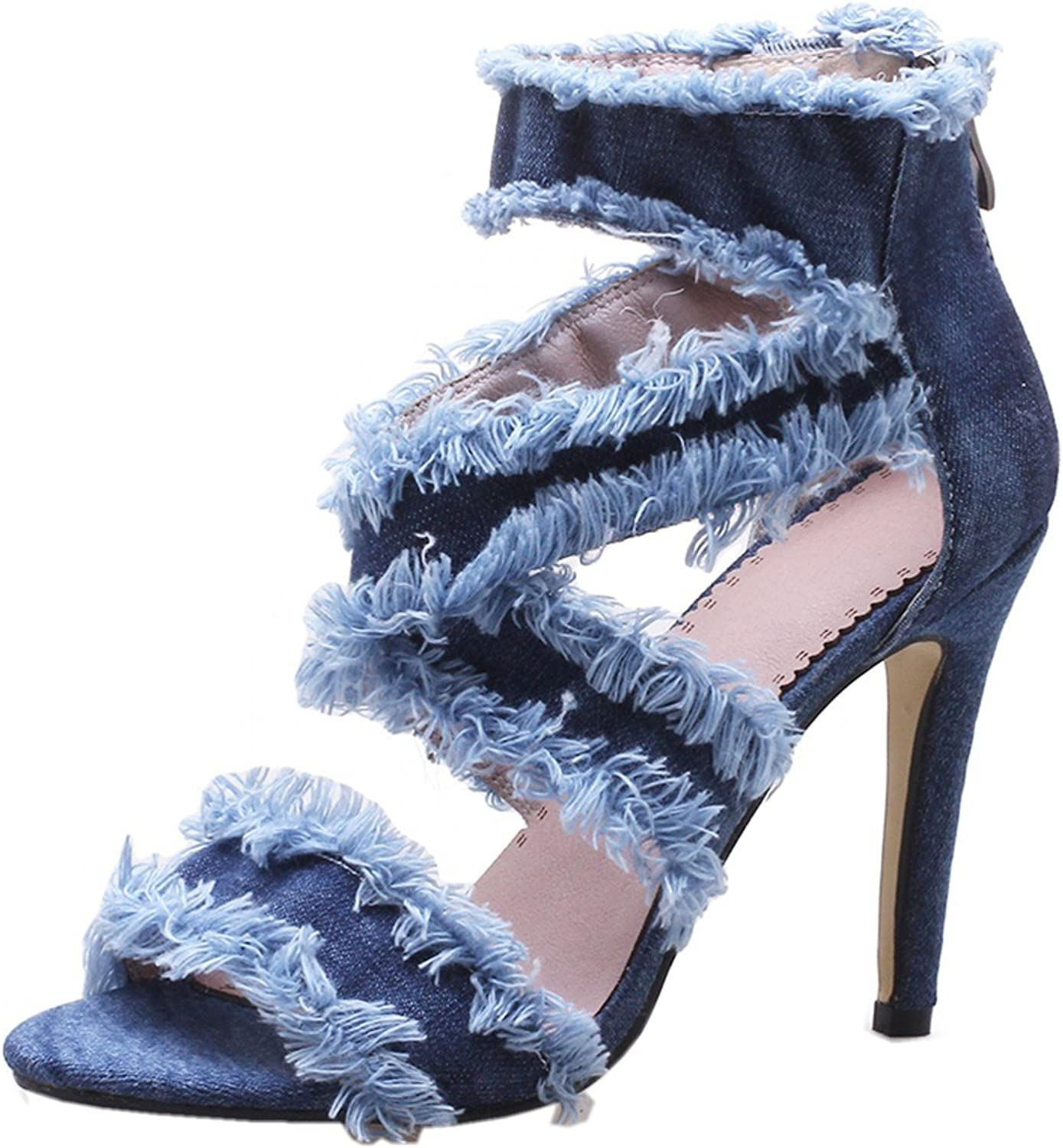 Rongzhi Womens Heeled Sandals Denim Stilettos Cross Strap Zipper Party shoes Open Toe High Heels Pumps