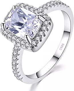 925 Sterling Silver Cushion Cut Halo Solitaire Engagement Ring