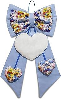 Crociedelizie, fiocco nascita coccarda fuori porta cuore ricamabile tela aida Disney azzurro rosa Winnie the Pooh