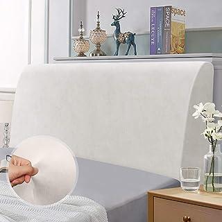 Funda de Cabecera de Cama, Funda de protección de cabecera elástica, protección elástica de Color sólido de diseño Todo Incluido, Blanco 120-140 cm