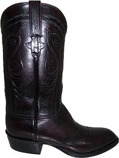 Mens Black Cherry Buffalo Leather Custom Hand-Made Boots L1580