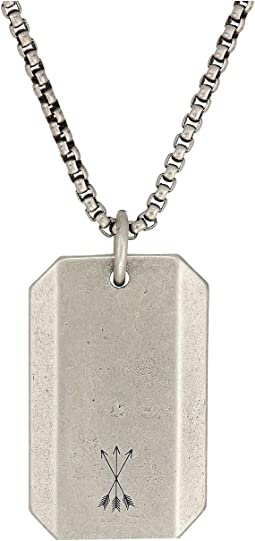 "26+2""  Dog Tag Pendant Rolo Chain Necklace in Oxidized Stainless Steel"
