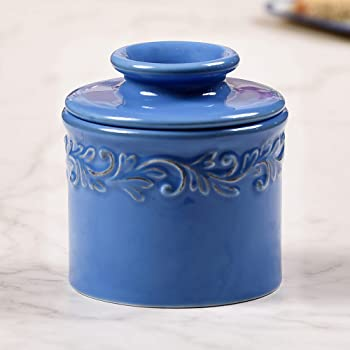 Porcelain Butter Dish With Lid,Ceramics Keeper Crock With Water Line Dark Blue
