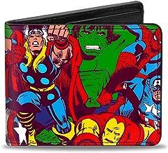 Men'sMarvel Comics Wallet 5-retro Avenger Superhero Action Pose, -Multi, One Size