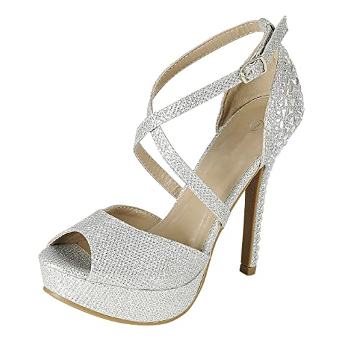 b094d852a93 Cambridge Select Women s Peep Toe Crisscross Ankle Strappy Rhinestone  Crystal Beaded Platform Stiletto Heel Dress Sandal