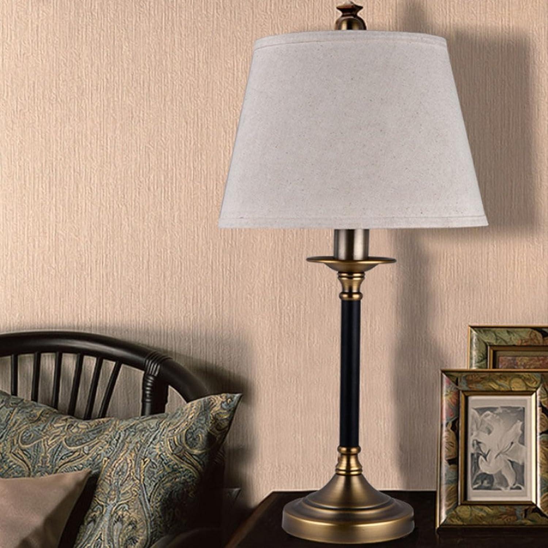 JM Schreibtischlampen Einfache American Retro Eisen Bronze Tischlampe Nacht Schlafzimmer Wohnzimmer Villa Hotel Lobby Studie Leinen Tischlampe