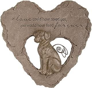 Devoted Angel Dog Resin Heart Garden Memorial Stepping Stone, 10 Inch