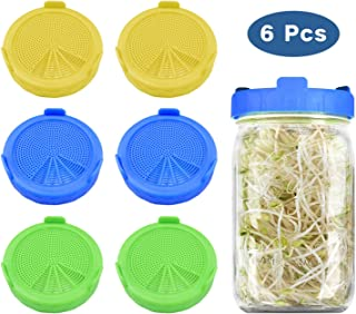 6 Pack Plastic Sprouting Lids,Sprouting Jar Strainer Caps with Silicone Sealing Gaskets For 86 MM Wide Mouth Mason Jars Ca...