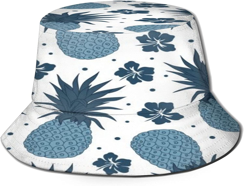 Vintage Navy Blue Pineapple Bucket Hat Unisex Sun Hat Summer Packable Fisherman Hats Black