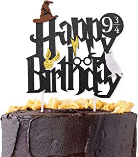 Levfla Double Sided Glitter Black Wizard Happy Birthday Cake Topper Wizard Party Supplies