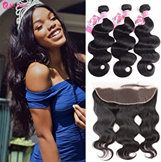 Ali Pearl 8A Brazilian Human Hair 3 Bundles Body Wave with 13x4 Lace Closure Free Part Human Hair Extension (18 20 22 & 16frontal)
