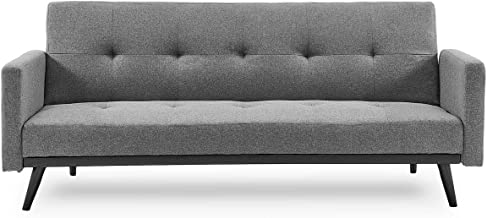 Sarantino 3 Seater Modular Linen Fabric Sofa Bed Couch Armrest Furniture Lounge Light Grey