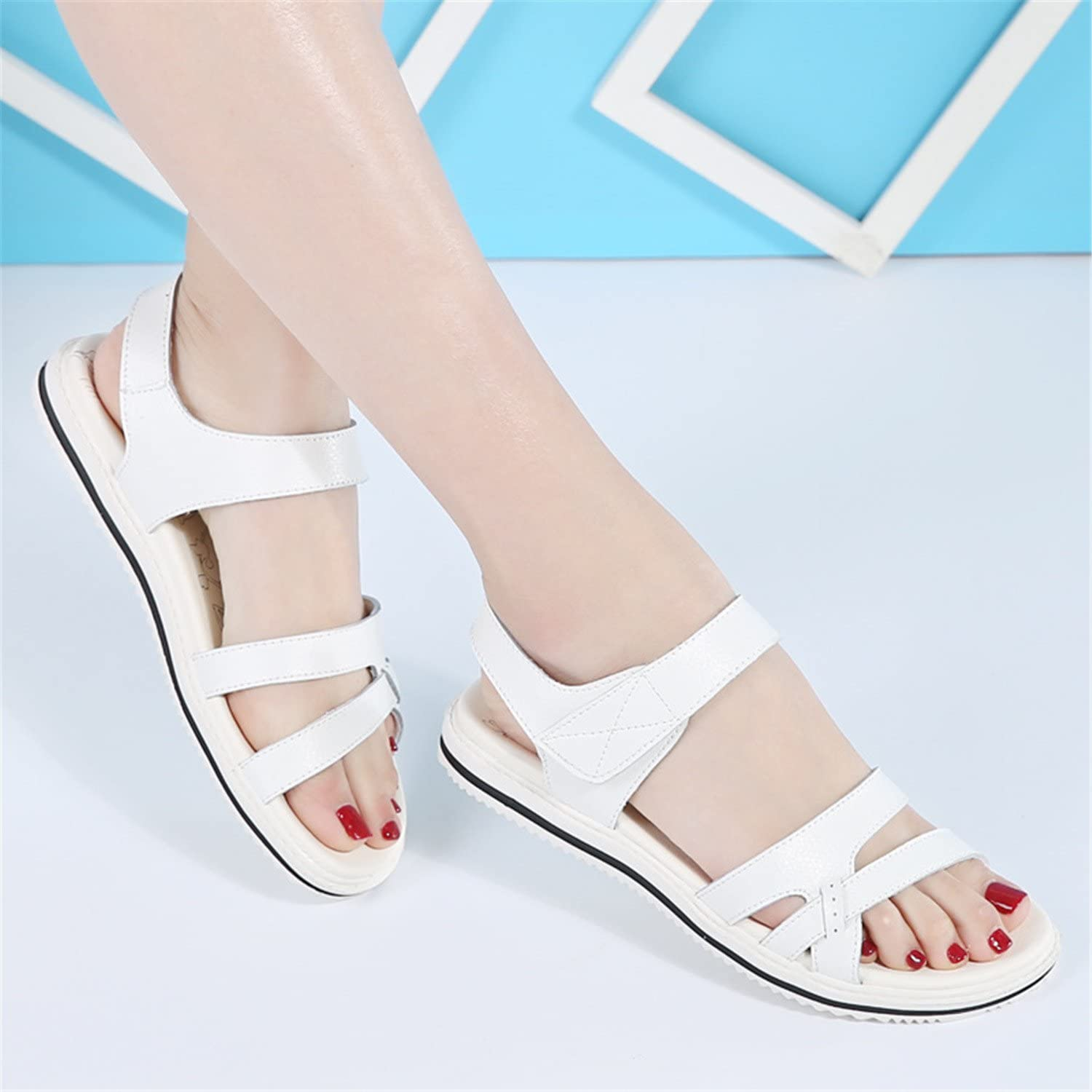 Henraly Pregnant Women Sandals Women Non-Slip Flat New Summer New Leather Soft Sandals Female Students with Casual shoes