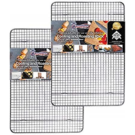 """KITCHENATICS 100% Stainless Steel Roasting and Cooling Rack Fits Jelly Roll Pan, Rust Proof Rack with Patent-Pending Extra Welds & Wire Grid, Use for Oven & Grill, Non-Toxic, 10"""" x 15"""" x 1"""", Set Of 2"""