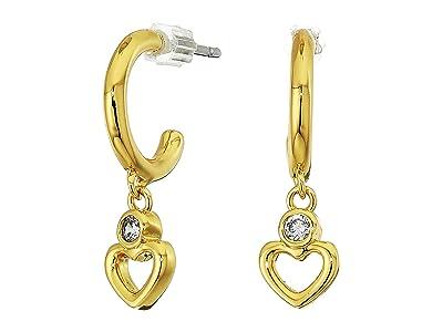 Kate Spade New York Shining Spade Huggies Earrings (Clear/Gold) Earring