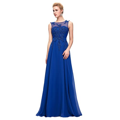 64458c867da GRACE KARIN Chiffon V Back Evening Dresses Prom Gown with Beads Appliques