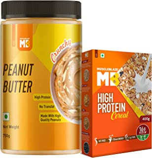 MuscleBlaze Classic Peanu Butter, Crunchy, 750g with High Protein Cereal, 400g (Pack of 2)