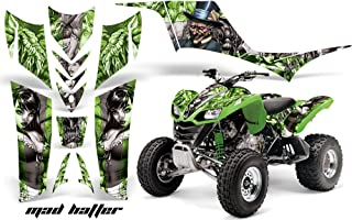 AMR Racing Graphics Kit for ATV Kawasaki KFX 700 2004-2009 MAD HATTER SILVER GREEN