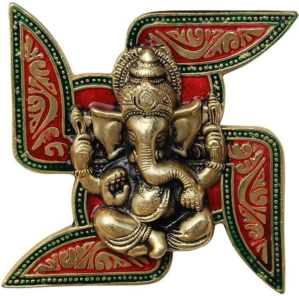 Nobility Ganesha Placed On Swastik Aluminium Metal Wall Hanging