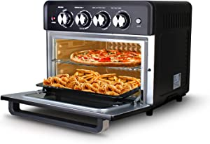 Artestia Toaster Oven Air Fryer Combo, 27.5Q Convection Airfryer Countertop Oven, Roast, Bake, Broil, Reheat, Fry Oil-Free, Cooking Accessories Included, Stainless Steel, Silver, 1800W