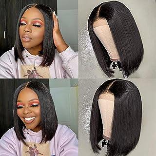 Dixtefo Short Bob Wigs Human Hair Lace Closure Wigs 4x4 lace front Human Hair wigs brazilian virgin straight bob Wigs for ...
