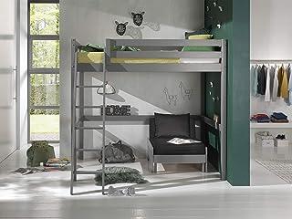 Vipack Lit mezzanine avec surface de couchage 140 x 200 cm avec fauteuil en pin massif laqué gris